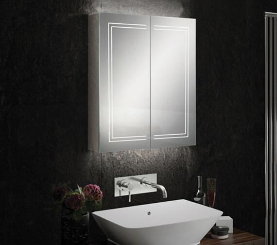HiB Edge 60 Double Door LED Illuminated Cabinet 600 x 700mm