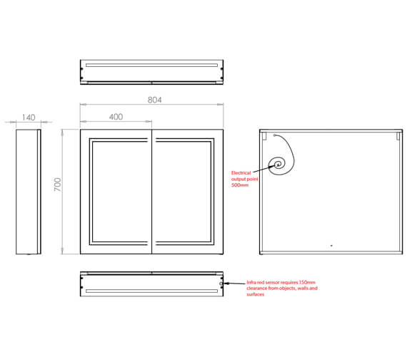 Additional image of HiB Edge 60 Double Door LED Illuminated Cabinet 600 x 700mm