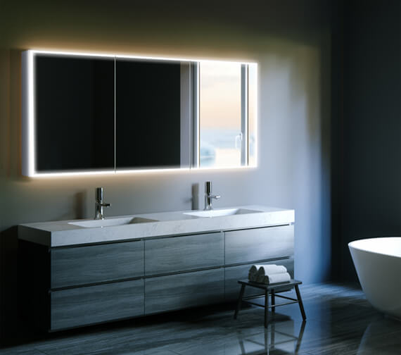 HIB Qubic 120 Triple Door LED Aluminium Mirror Cabinet