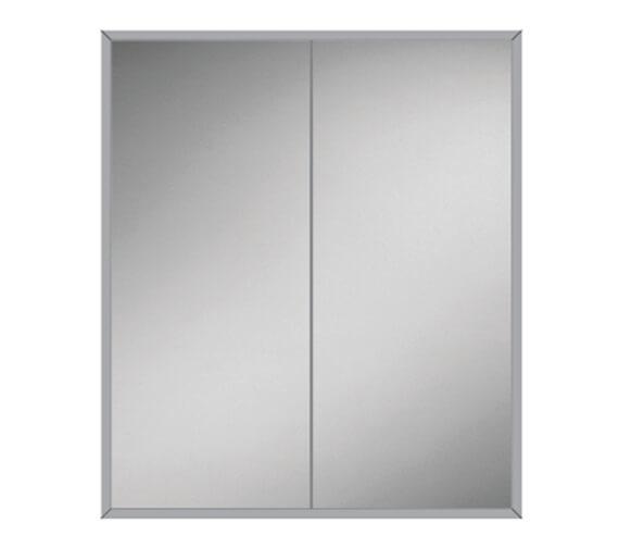 HIB Essence 60 Double Door Aluminium Recessed Mirror Cabinet 630 x 730mm