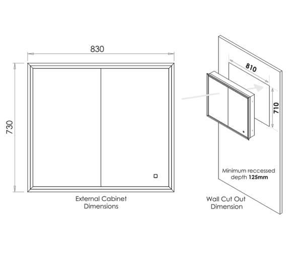 Additional image of HIB Essence 60 Double Door Aluminium Recessed Mirror Cabinet 630 x 730mm