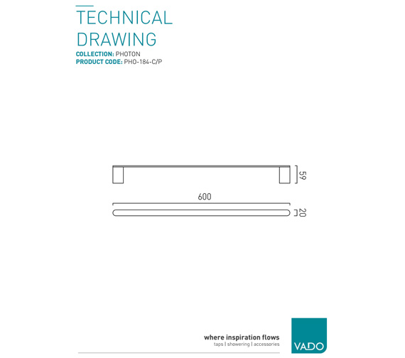 Additional image of Vado Photon Chrome Towel Rail