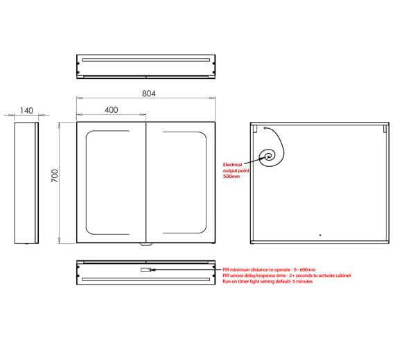 Additional image of HIB Vapor 700mm High LED Illuminated Aluminium Mirror Cabinet