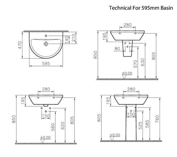 Alternate image of VitrA Integra 1 Tap Hole Round Ceramic Washbasin