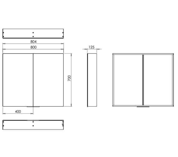 Additional image of HIB Eris 60 Double Door Aluminium Mirrored Cabinet 600 x 700mm