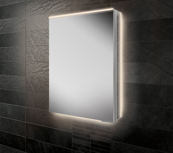 HIB Ether 50 Single Door LED Illuminated Aluminium Mirror Cabinet 500 x 700mm