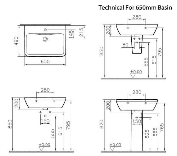 Alternate image of VitrA Integra 1 Tap Hole Square Ceramic Washbasin