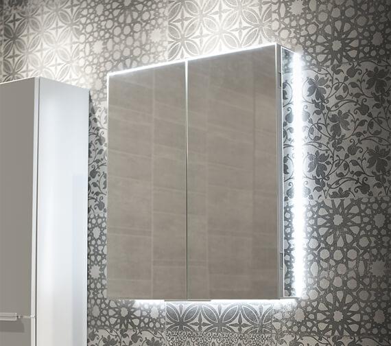 HIB Ether Double Door LED Illuminated Rectangular Mirrored Cabinet