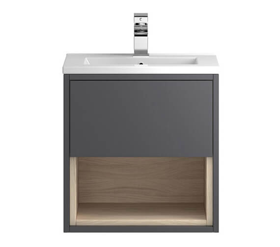 Additional image of Hudson Reed Coast Wall Hung Open Shelf Unit With Mid-Edge Basin
