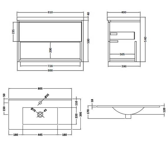 Alternate image of Hudson Reed Coast Wall Hung Open Shelf Unit With Minimalist Basin
