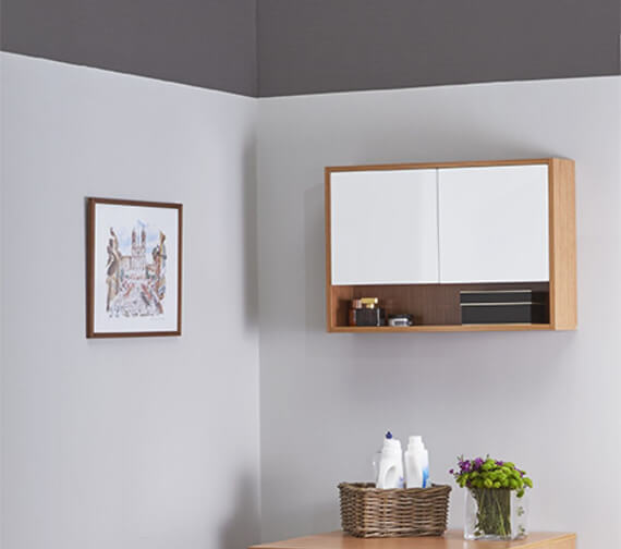 Alternate image of VitrA Integra 700mm Wall Mounted 2 Door Unit With Open shelf