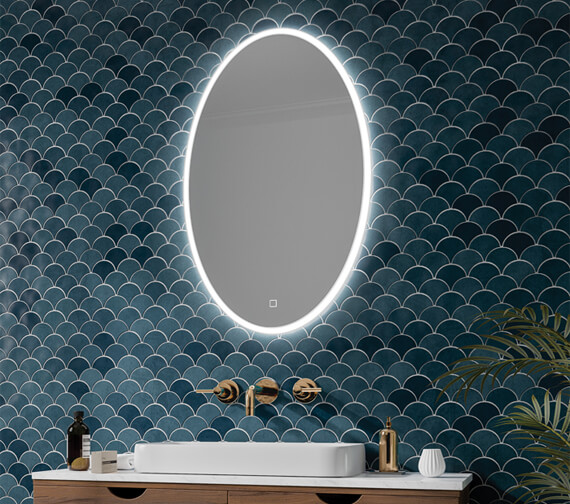 HiB Arena LED Illuminated Oval Mirror With Touch Switch And Heating Pad