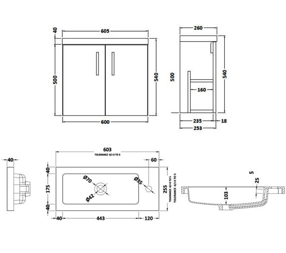 Alternate image of Hudson Reed Apollo Slimline Wall Hung 2 Door Compact Cabinet And Basin