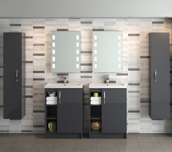 Hudson Reed Apollo 600 x 360mm Open Shelves Full Depth Cabinet And Basin