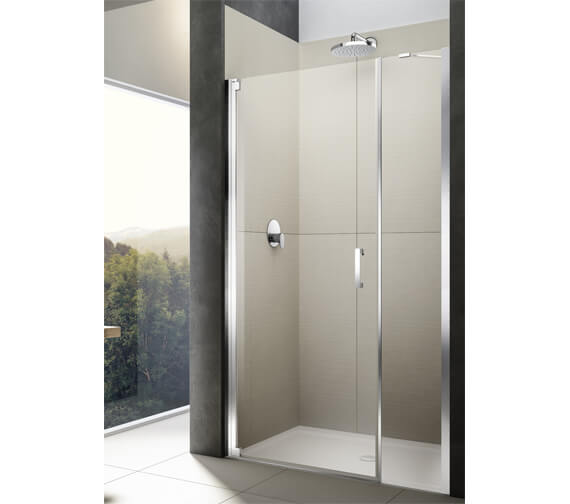 Lakes Italia Diletto Semi-Frameless Left Handed Wall Hinged Pivot Door With In-Line Panel 1000mm