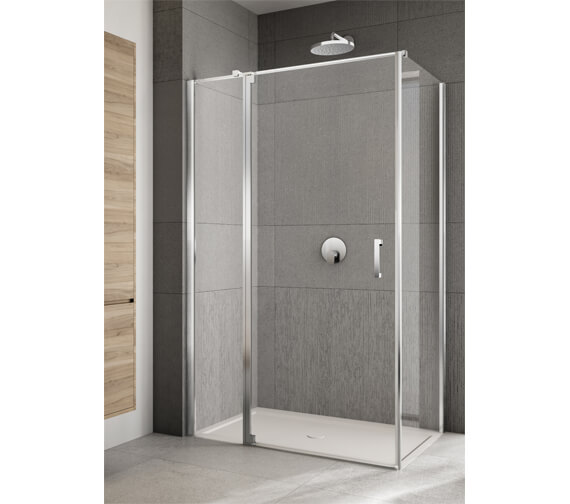 Alternate image of Lakes Italia Rilassa 900mm Semi-Frameless Left Hand Pivot Door And In-Line Panel With Optional Side Panel