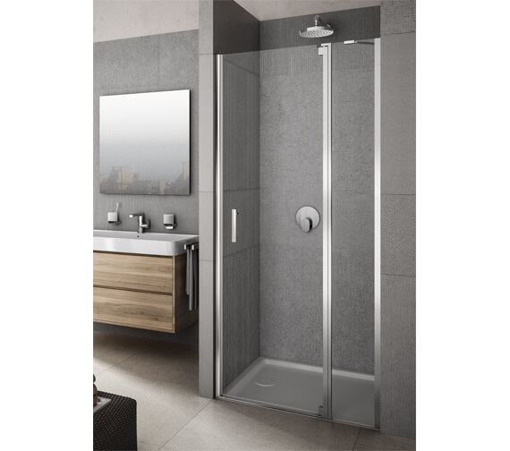 Lakes Italia Vivere Semi-Frameless Panel Hinged Pivot Door With In-Line Panel 900mm