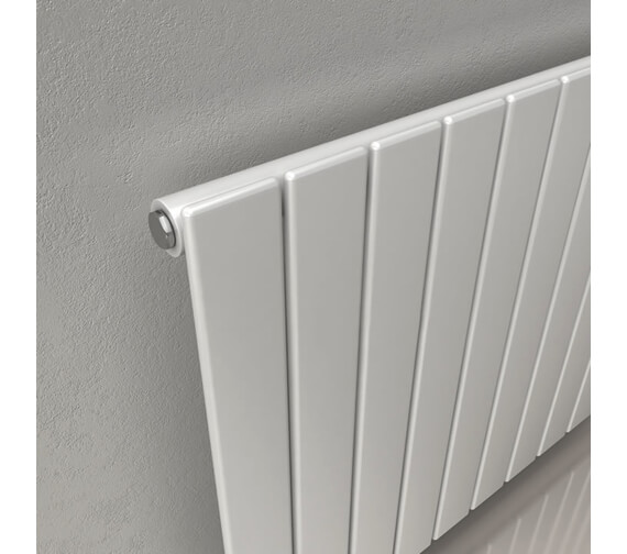Additional image of Reina Flat 600mm High Single Panel Horizontal Steel Designer Radiator In White Or Anthracite Finish 440mm Wide