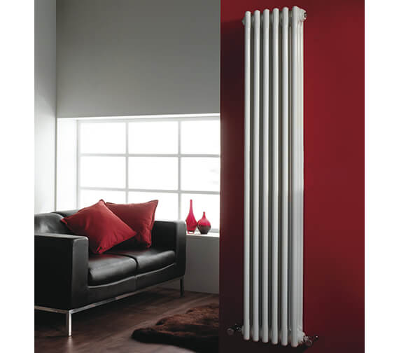 Nuie Premier Regency Double Column 335 x 1800mm White Vertical Designer Radiator