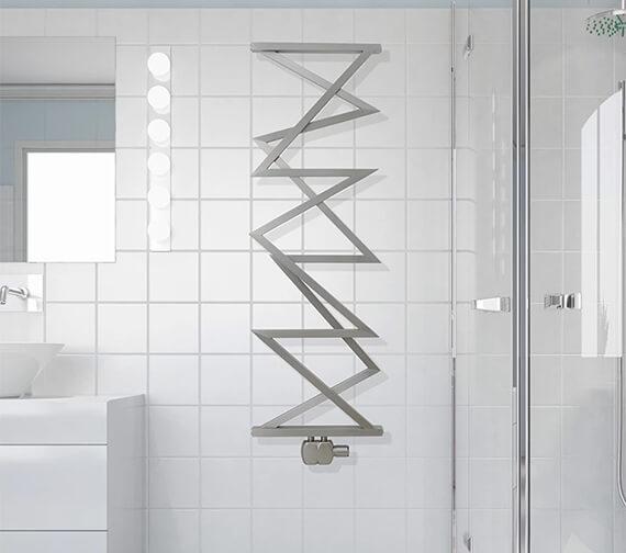 Aeon Zig Zag M 500 x 1500mm Wall Mounted Stainless Steel Towel Rail Matt Silver