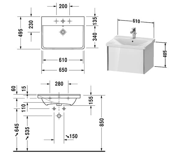 Technical drawing QS-V42550 / XV40150B118
