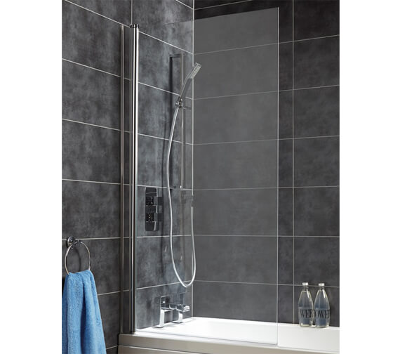 Saneux Agua Maison Square Shaped 720 x 1435mm Hinged Bath Screen