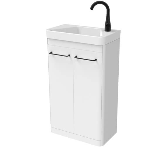 Saneux Hyde 500mm Two Door Floor Standing Unit With Right Hand Side Tap Hole Basin
