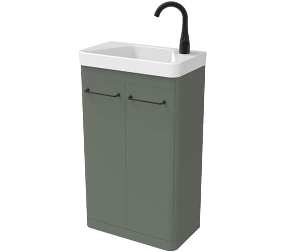 Additional image of Saneux Hyde 500mm Two Door Floor Standing Unit With Right Hand Side Tap Hole Basin