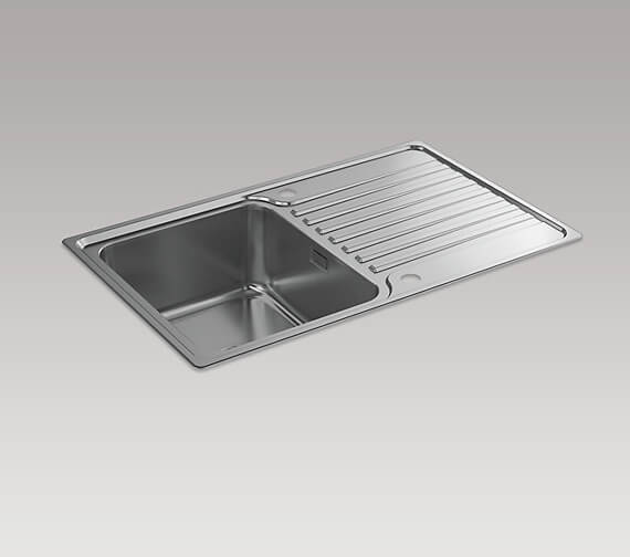 Kohler Hone 800mm Inset Kitchen Sink With Draining Board