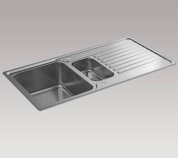 Kohler Hone 1000mm 1.5 Bowl Inset Sink With Draining Board