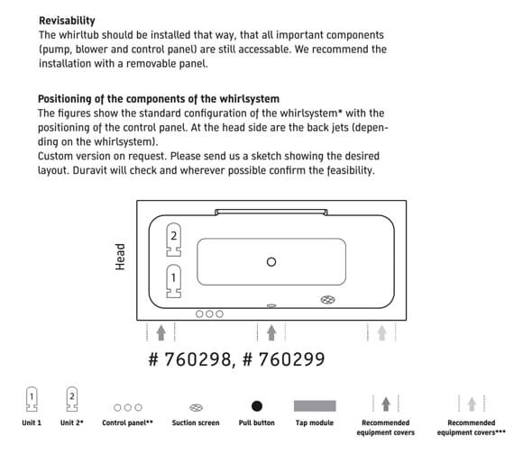 Additional image of Duravit DuraStyle Rectangular Whirlpool Bath With Two Backrest Slope