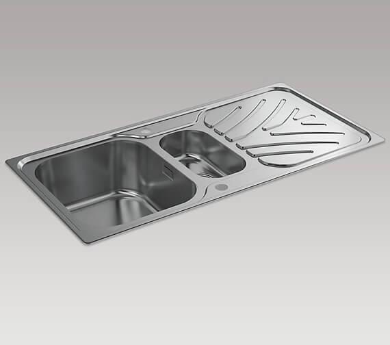 Kohler Ease 1000mm 1.5 Bowl Inset Sink With Draining Board
