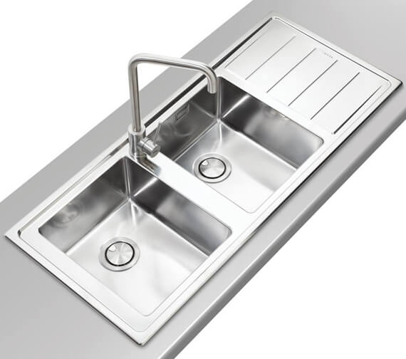 Additional image of Clearwater Linear Plus 1160 x 500mm Double Bowl And Drainer Kitchen Sink