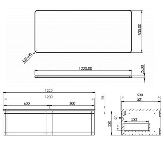 Technical drawing QS-V88823 / FR120DW.MW