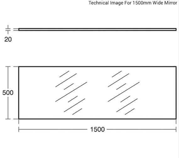 Additional image of Armitage Shanks Contour 21 - Splashback Scratch Resistant Mirror - 1000mm Wide