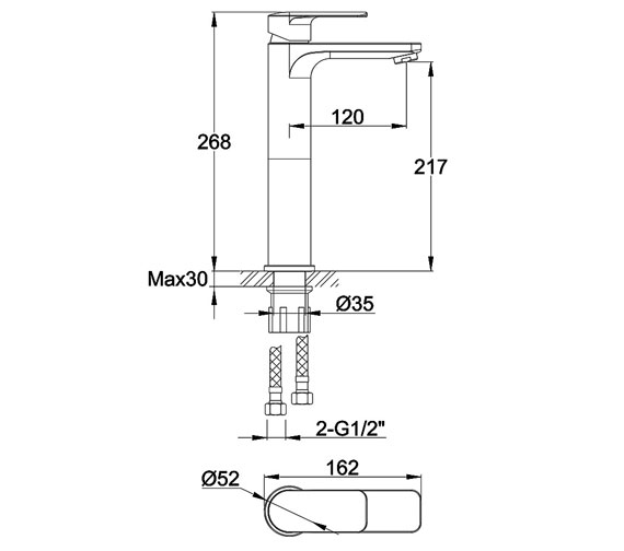Alternate image of Pura Suburb Basin Mixer Tap With Clicker Waste