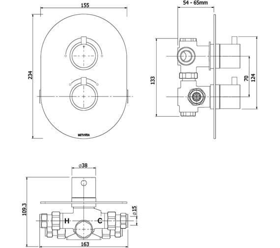 Technical drawing QS-V88061 / KAHA 2VDIV