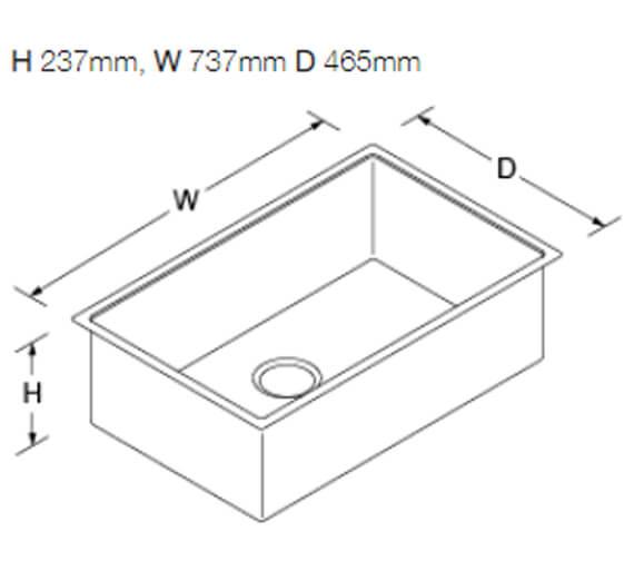Additional image of Kohler Strive Under Mount Sink 610mm With No Tap Hole