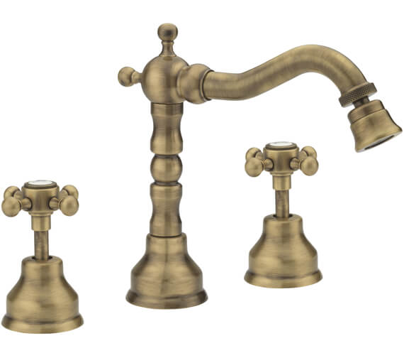 Alternate image of Tre Mercati Allora 3 Tap Hole Deck Mounted Bidet Mixer Tap With Click Clack Waste