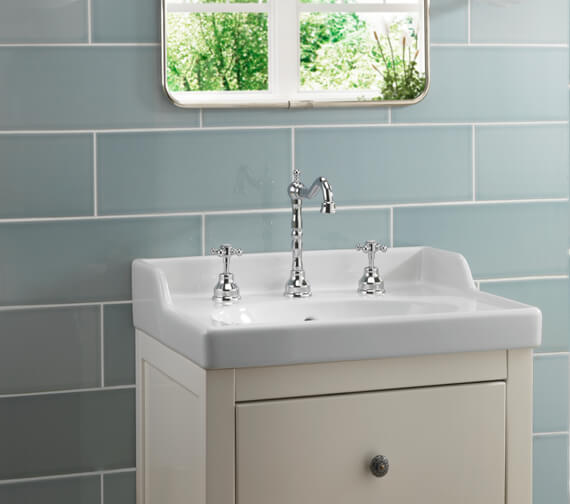 Alternate image of Tre Mercati Allora 3 Tap Hole Deck Mounted Basin Mixer Tap With Click Clack Waste