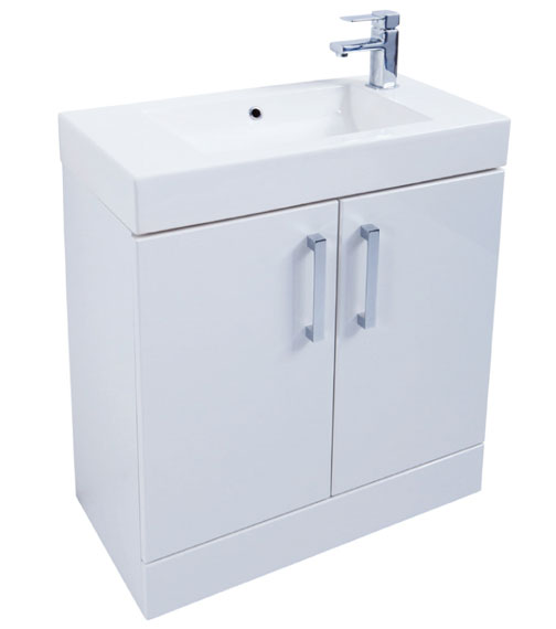 Kartell K-Vit Liberty 2-Door Floor Standing White Vanity Unit With Basin 700mm Wide
