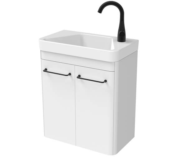Saneux Hyde 488mm Two Door Wall Hung Unit With 1 Taphole Basin