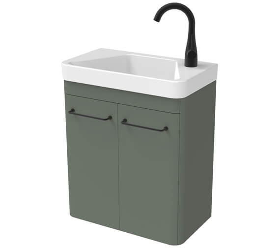 Additional image of Saneux Hyde 488mm Two Door Wall Hung Unit With 1 Taphole Basin