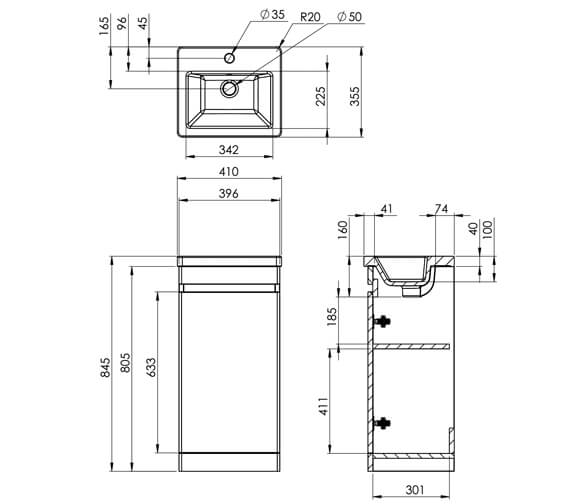 Technical drawing QS-V88793 / AIRF40.W
