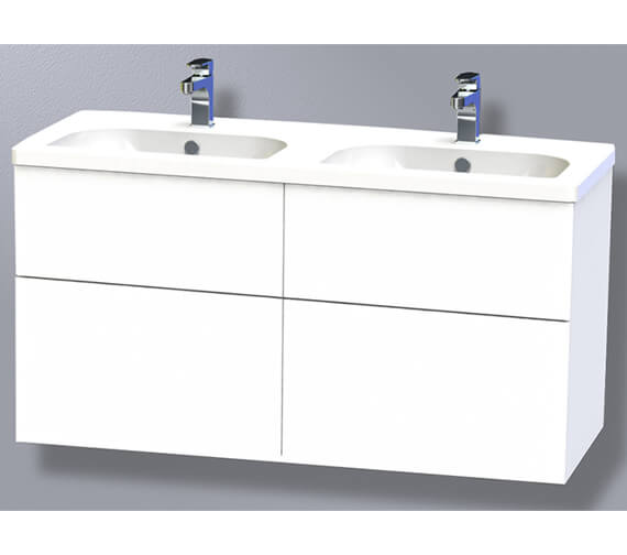 Miller New York 120 Four Drawer White Wall Hung Vanity Unit