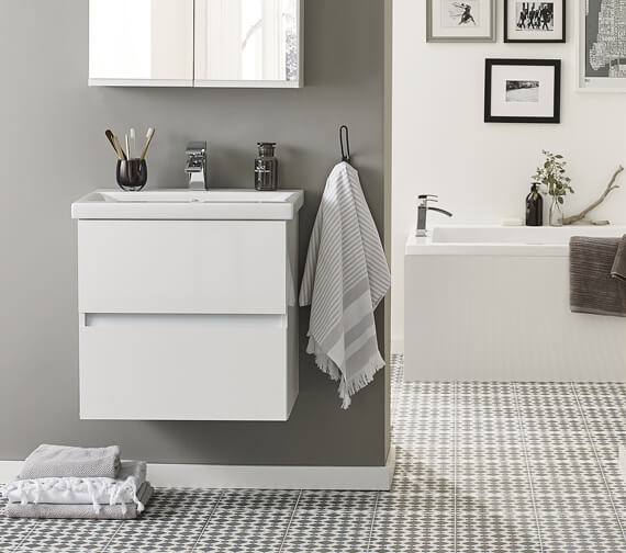 Kartell K-Vit Ikon Wall Mounted Double Drawer Vanity Unit With Basin 600mm