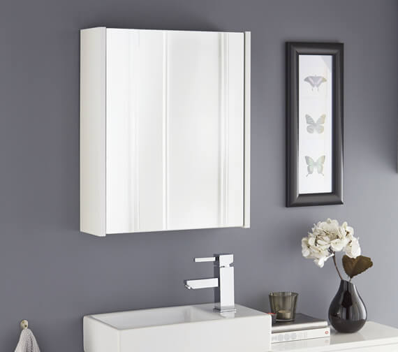 Kartell K-Vit Liberty 2-Door White Mirror Cabinet 490 x 658mm