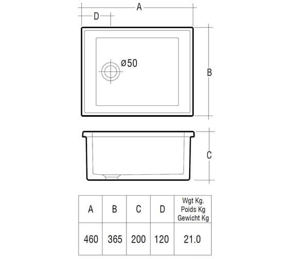 Additional image of RAK Gourmet 360 x 280 x 152mm Laboratory Sink 1