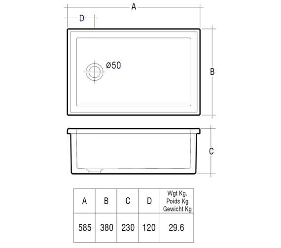 Additional image for QS-V10070 Rak Ceramics - LABSINK1
