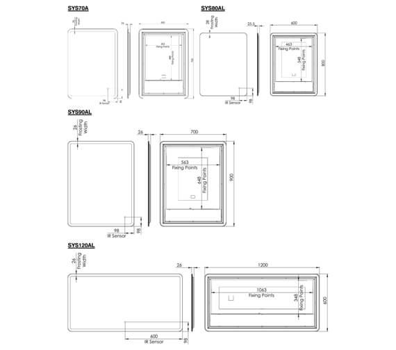 Technical drawing QS-V4828 / SYS70AL